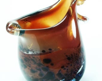 Caramel and blackish small blown glass pitcher