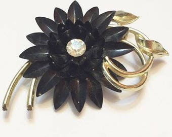 Vintage Black Metal Enameled Flower Brooch