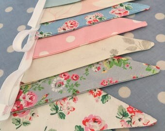 Cath kidston, shabby chic cotton fabric bunting,banner,flag,wedding,garden party, party flag ,girls bedroom ,baby shower