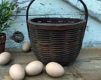 Antique Small Gathering Basket with Wood Handle- Woven Basket - Splint Basket