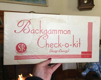 Backgammon Check-O-Kit game  1930 made by Selchow & Righter Excellent condition