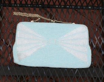 Beaded Purse Clutch Blue White Bow