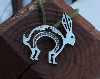 Tribal Rabbit Pendant Sterling Silver Necklace