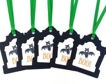 Halloween Tags - Boo Halloween Gift Tags - Spooky Halloween Tags - Bat Tags - Handmade Halloween Tags - Paper Tombstone Halloween Tags