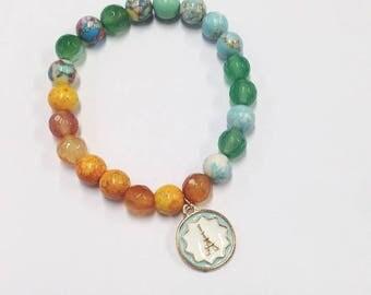 Elastic Beaded Bracelet, Beaded Bracelet, Friendship Bracelet, Stacking Bracelet, Yellow, Orange and Green Bracelet, Gift, Present