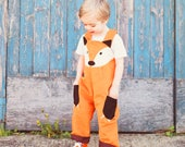 Fox dungaree, fox costume, fox toddler overalls for inaginative play