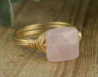 Sale! Rose Quartz Ring- Yellow or Rose Gold Filled or Sterling Silver Wire Wrapped Ring with Square Gemstone-Size 4 5 6 7 8 9 10 11 12 13 14