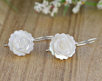 White Mother of Pearl Rose Earrings - Sterling Silver, Yellow or Rose Gold Filled Wire Wrapped Dangle Earring with Shell Flower Beads