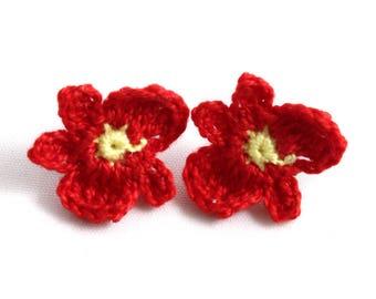 Earrings - Vegan Earrings - Vegan Jewelry - Earrings Studs - Crochet Earrings - Flower Earrings - Stainless Steel Earrings - Red Earrings