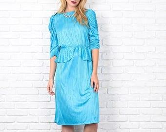 Sale Vintage 80s Teal Blue Retro Dress Peplum Striped Print Puff Sleeve S Medium M 8653