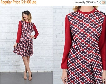 Sale Vintage 60s 70s Red Plaid Dress Striped A Line Medium M 9273 vintage dress 60s dress 70s dress red dress striped dress a line dress