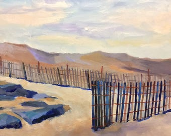 Dunes and Fences Beach Landscape Oil Painting on Canvas