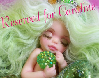 Reserved for Caroline... 2nd & final  payment of two.  OOAK art doll fantasy mermaid baby polymer clay sculpture fairy  IADR  august peridot