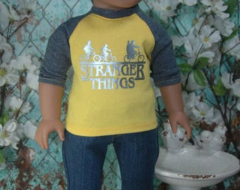 American, made, girl, boy, graphic, baseball, tee, shirt, fits, 18 inch doll, top, doll clothes