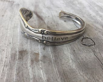 """Upcycled Spoon Cuff Bracelet Hand Stamped """"BELIEVE"""" - William Rogers """"Precious Mirror"""" (#3386-LV)"""