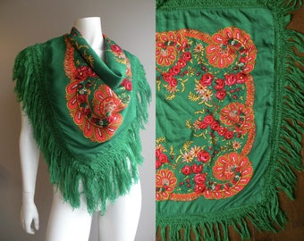 """Large 36"""" Vintage Wool Russian Scarf Shawl Wrap Emerald Green Orange and Red"""