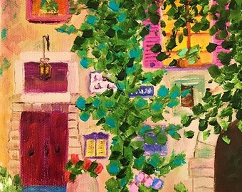 50% off SALE French Restaurant 1, Original Hand Painted Oil Painting. Size 6 x 6 canvas