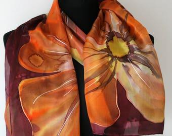 Amazing sunny chiffon scarf. Floral red plum chiffon silk scarf. Original Hand Painted Silk Scarf for Ladies. Orange, yellow, red.