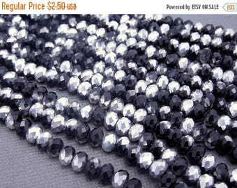 10% off Memorial Day Chinese Crystal Beads -  5mm Silver/Black Titanium Chinese Crystal Rondelle Beads - 1 STRAND (S37B5b-05)
