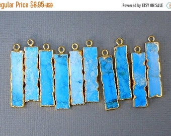 15% off Christmas in July Turquoise Howlite Bar Charm Pendant with 24k Gold Electroplated Edges (S28B8-01)