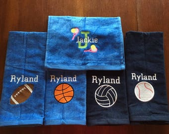 personalized sport towels, Volleyball, football, softball, baseball, golf, basketball,  tennis sport towels, solid fill with one name