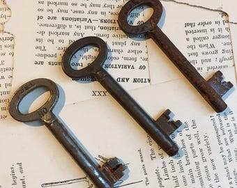 Set of 3 vintage Skeleton Keys - iron keys