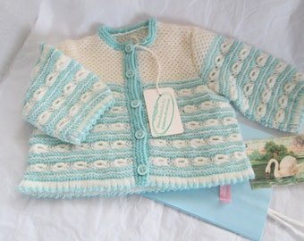 Hand Knit Baby Sweater 6M to 9M Aqua Ivory Lace Cardigan Vintage Style