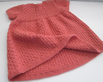 Hand Knit Baby Dress Vintage Style 12M Coral Alpaca Wool Ready to ship
