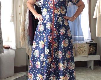 30's Floral Bouquet Long Dressing Gown/ House Dress
