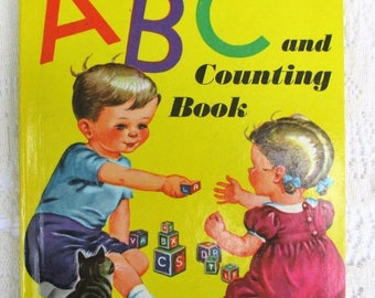 SALE 20% OFF Vintage ABC and Counting Book~1946 Rare Collectible Children's Book by Wonder Books