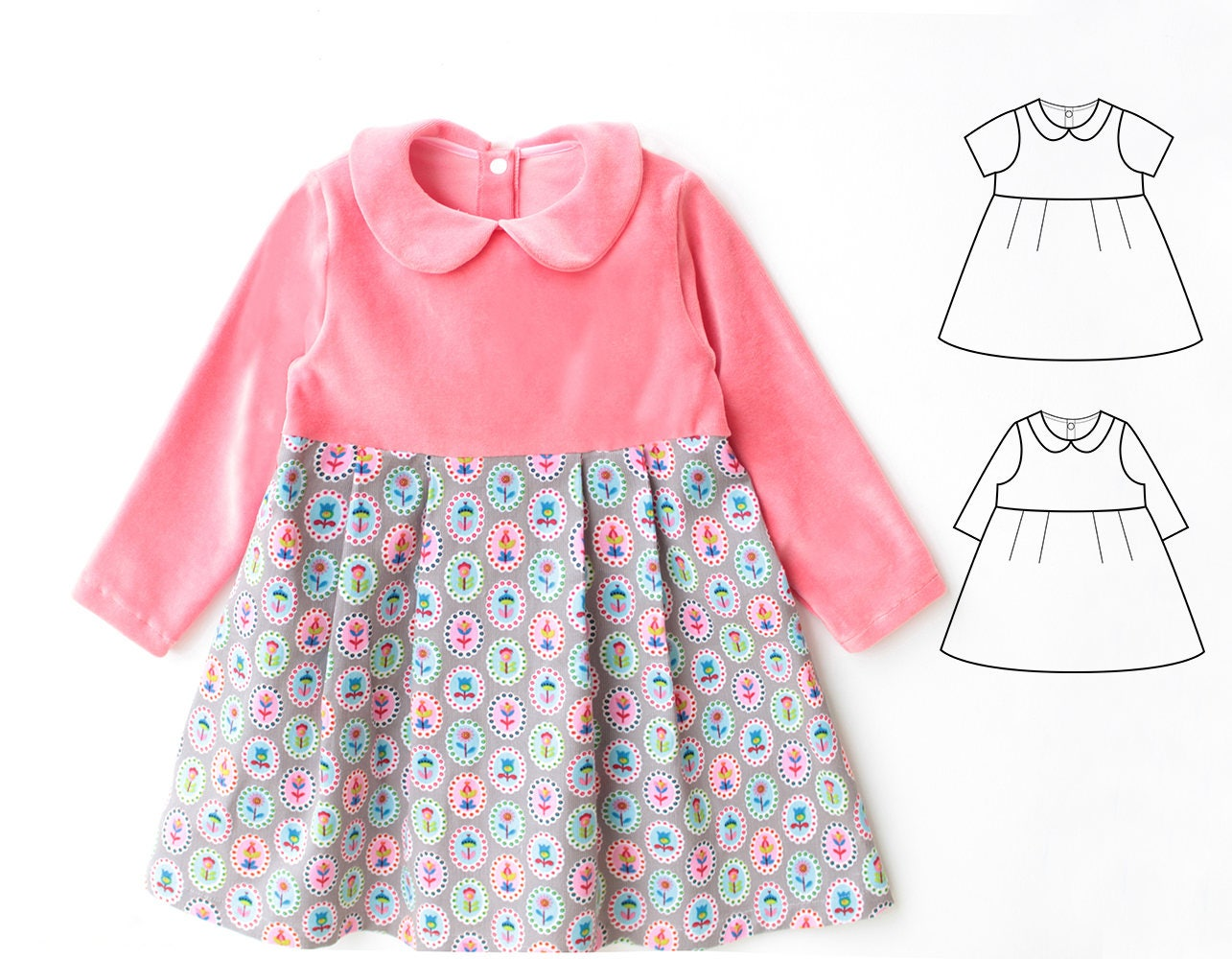 Jersey Knit Sewing Patterns : PAULINE Girl Baby Girl Dress sewing pattern Pdf Jersey Knit
