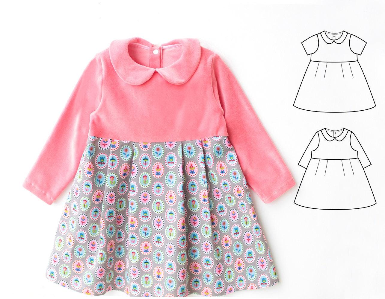 PAULINE Girl Baby Girl Dress sewing pattern Pdf Jersey Knit