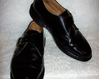 Vintage Ladies Black Leather Monk Strap Slip On Oxfords by Dr Marten UK Size 8 Only 25 USD