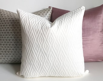 White geometric matelasse decorative pillow cover