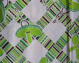 "Vintage American Feed sack fabric fat quarter 18"" x 22' cotton novelty Mexican sombrero green feedsack"