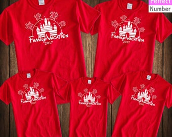 Disney Family Vacation Castle Fireworks Matching T-shirt  2017 Disney Parks