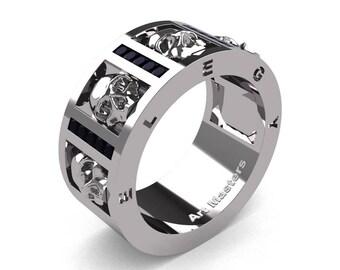 Mens Avant Garde 14K White Gold Channel Set Princess Black Diamond Skull Wedding Ring R413P-14KWGBD