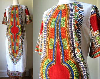 1960s 70s Cotton Daishiki Colorful Folk Traditional Ethnic Hippie Caftan Like Dress