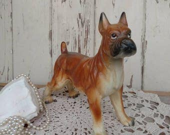 """Mid Century Boxer Bulldog Statue - Boxer Figurine, Prize Winning Pooch, Blue Ribbon Dog, Porcelain Canine Statue, Cute Dog Gift, 8"""" Tall!!"""