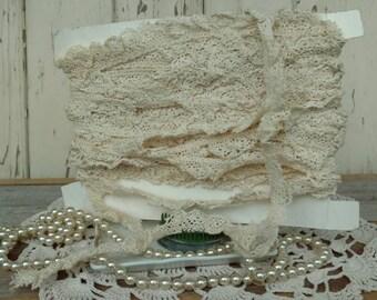 "Vintage Antique Ivory Crocheted Lace - Ivory Trim Yardage, Crafting Supply Seamstress Destash, Old Lace Yardage or Sewing Supply, 650"" Long"