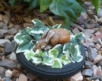 Polymer clay animal sculpture, baby cottontail bunny, resting in a bed of ivy, country, forest, animals, woodlands, animal lovers