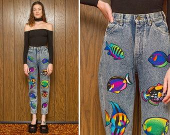 Vintage 80s 90s Acid Wash Blue Lee Rainbow Fish Aquatic Sea Tropical Kawaii Zip Fly Applique Denim Jean Jeans 23x29 24x29 23 24 XS S