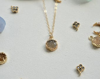 Dainty gold filled vermeil gold bezeled druzy necklace