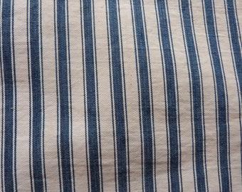 Vintage linen mattress ticking French stripe fabric indigo blue marine white striped mattress toile patchwork sewing supply textile fabric