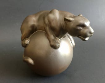 """Retired Lladro """" Fearless"""" Panther on an Orb. Porcelain Paperweight"""