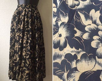 Vintage Black and Tan skirt, floral skirt, 1980s calf length skirt, rayon skirt, small skirt, medium skirt, high waist skirt, pin up skirt,