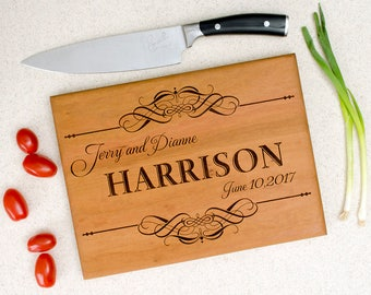 Personalized cutting board, wedding gift, custom cutting board, engraved cutting board, anniversary gift, first and last name with scrolls.