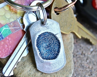 Fingerprint Keychain, Single Fingerprint Keychain, Memorial Fingerprint Key chain, Keychain, Fingerprint keychains, Child's Fingerprints