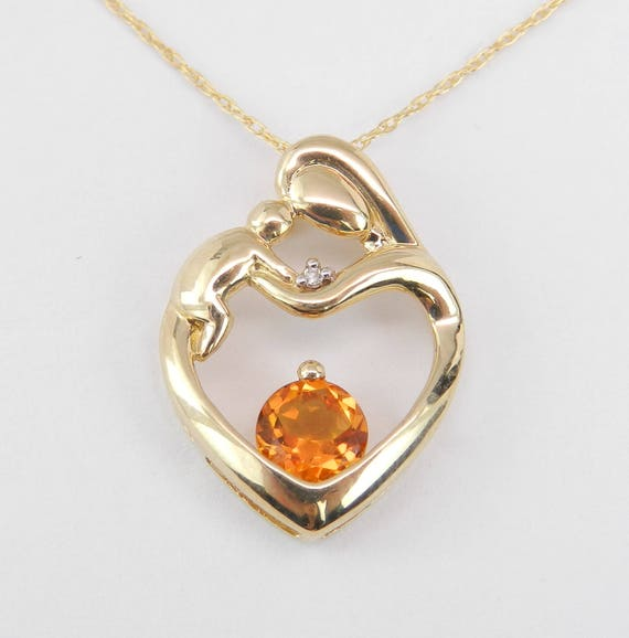 """Mother and Child Citrine Diamond Heart Pendant Necklace Yellow Gold 18"""" Chain"""