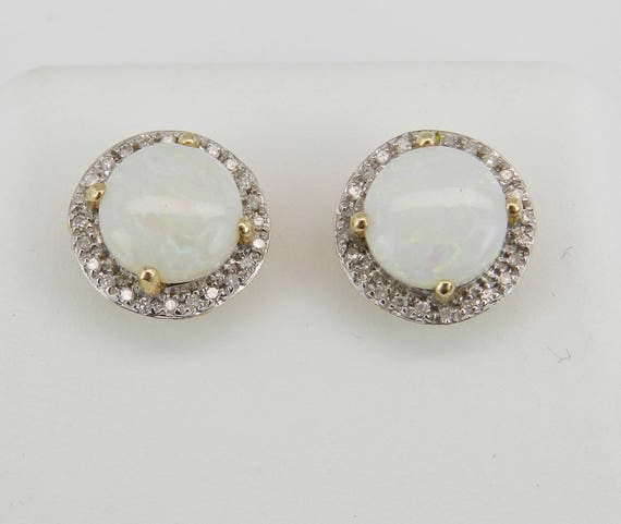 Opal and Diamond Halo Stud Earrings 14K Yellow Gold Studs October Gemstone